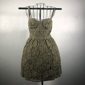 Abercrombie olive green lace dress with pockets